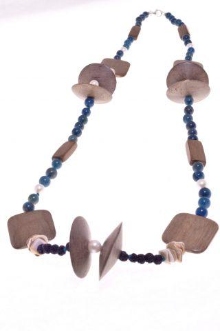 Collana Natural, apatite, perle, legno, Ag.925 75 cm