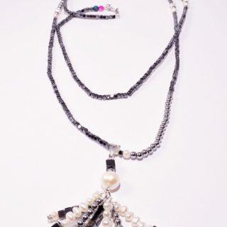 Collana longer, ematite e perle, Ag. 925 ciondolo