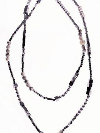 Collana lunga pietre dure, ematite, labradorite, argento, longer 90 cm.