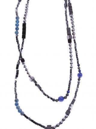 Collana lunga pietre dure, longer, grigio blu, argento, 90 cm.