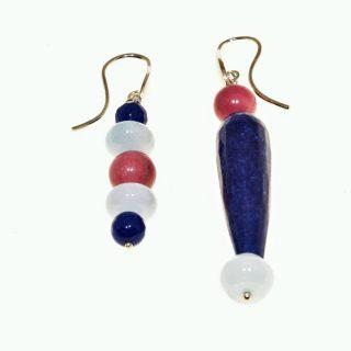 Orecchini pendenti pietre dure blu e rosa, argento, P.blu