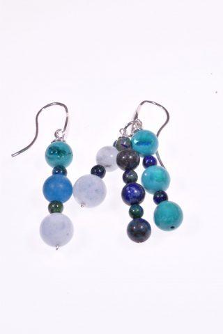 Orecchini pietre dure blu, argento, Iridis