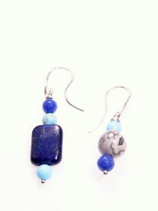 Orecchini Più fili, blu azzurro, pietre dure, argento