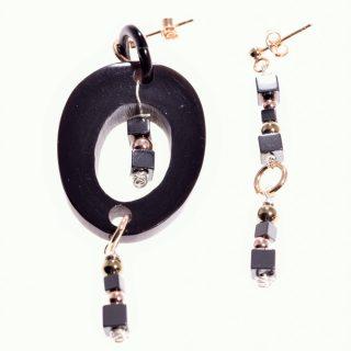 orecchini ovale, nero rosè, pietre dure, corno, argento