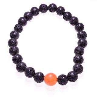 Bracciale pietre dure lava e agata arancio, elastico Bracciale di sfere di lava vulcanica nera, pietra protettiva, con centrale una sfera di pietra dura di colore contrastante. bracciale facile da indossare grazie al filo interno di elastico