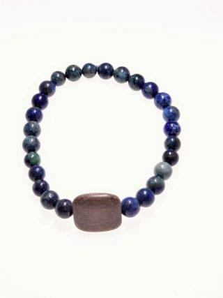 Bracciale pietre dure e legno, lapislazzuli afgano, elastico Bracciale con pietre dure caratterizzati dal filo elastico per facilitarne la vestibilità, originale centrale in legno di colore tortora,