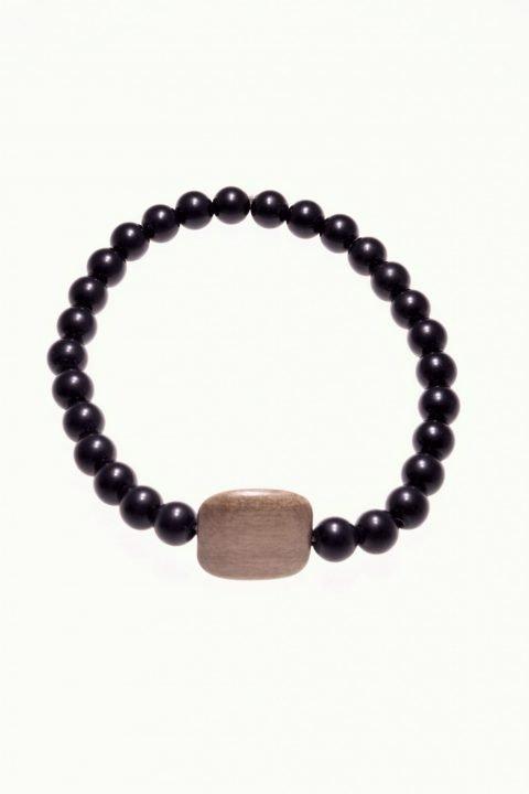 Bracciale pietre dure e legno, onice nero, elastico