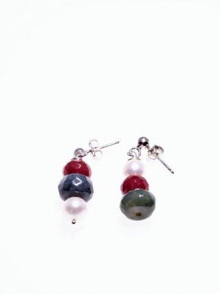 Orecchini pietre dure, perle, argento, P.blu rosso e verde orecchini pendenti con sequenza diversa delle pietre, giada, rubellite, agata indiana, belle perle sferiche fresh water