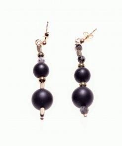 Orecchini pietre dure pendenti, argento onice Shadow perno Orecchini pendenti di diversa dimensione in onice nero, ematite e labradorite, montatura a perno in argento 925 rosa