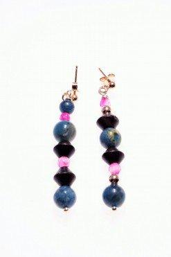 Orecchini pendenti giada, argento rosa, Natural perno