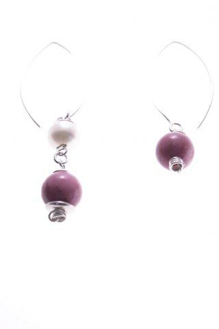 Orecchini perle pendenti disuguali, rodonite rosa, argento