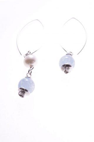 Orecchini perle pendenti disuguali, acquamarina, argento