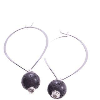 Orecchini pendenti a cuore con lava, argento
