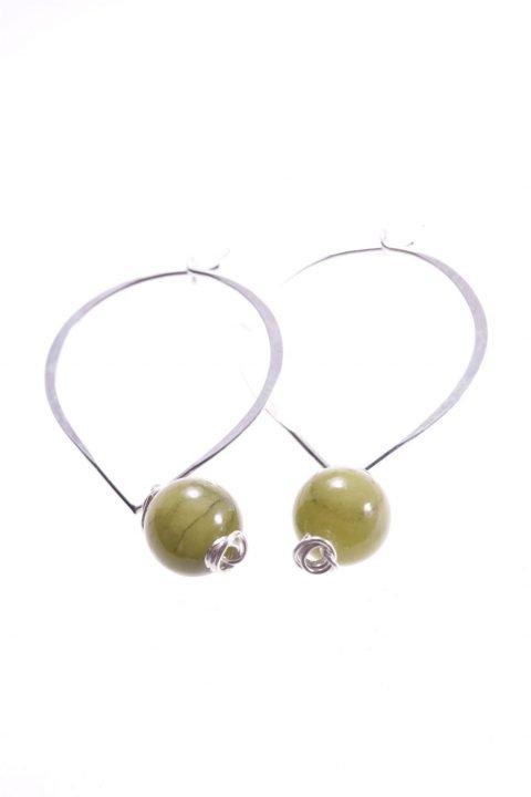 """Orecchini pendenti a """"cuore"""" con giada verde, argento"""