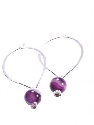 Orecchini pendenti a cuore con agata viola, argento