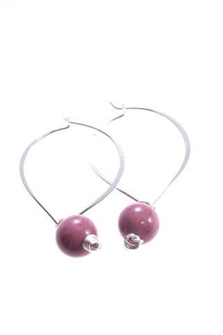 Orecchini pendenti a cuore e sfera rosa, argento, rodonite