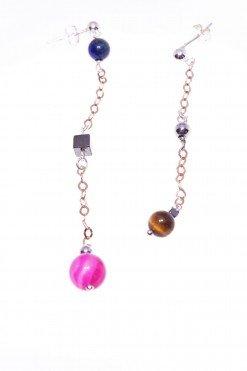 Orecchini pendenti disuguali, argento rosa, fucsia e blu, fashion jewellery orecchini pietre dure e argento, dimensioni diverse, disegual, pendenti, Italian fashion jewellery, earring