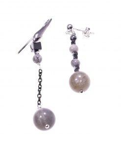 Orecchini pendenti disuguali, argento, grigio nere, fashion jewelry orecchini pietre dure e argento, dimensioni diverse, disegual, pendenti, Italian fashion jewellery, earring