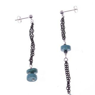 Orecchini pendenti, disuguali, catenina argento nero, turchese orecchini fashion jewelry, italian earing, orecchini pietre dure, azzurri, argento nero, orecchini shadow, dark