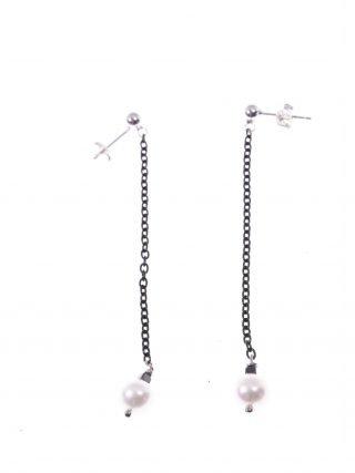 Orecchini pendenti, catenina argento nero, perla coltivata bianca orecchini fashion jewelry, italian earing, orecchini pietre dure, azzurri, argento nero, orecchini shadow, orecchini perla