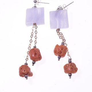 Orecchini pendenti corallo, pietra azzurra, argento rosa orecchini fashion jewelry, italian earing, orecchini pietre dure, azzurri, argento nero, orecchini estate.