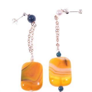 Orecchini pendenti disuguali, argento rosa, pietra gialla, perla orecchini fashion jewelry, italian earing, orecchini pietre dure, argento nero, orecchini estate. orecchini gialli, gata