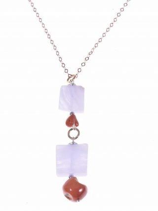 Collana argento rosa, ciondolo corallo e calcedonio