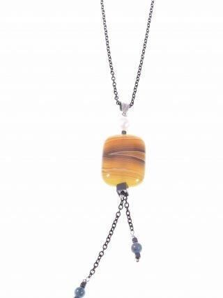 Collana argento nero, ciondolo agata gialla e perla, chain