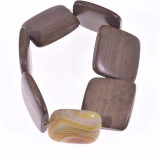 Bracciale pietre dure agata gialla legno chiaro Linea Natural Collezione: bracciali-wood Bracciale elasticizzato rettangoli legno chiaro quadrato 2 agata gialla