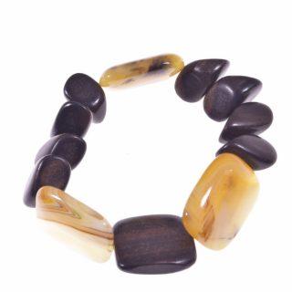 Bracciale legno e pietre dure, agata gialla, semiLinea Natural Collezione: bracciali-woodBracciale elasticizzato rettangoli agata gialla e legno irregolare
