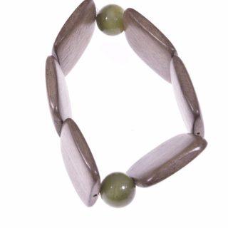 Bracciale legno chiaro e giada canadese Linea Natural Collezione: bracciali-wood Bracciale elasticizzato rettangoli legno chiaro sfere giada canadese verde