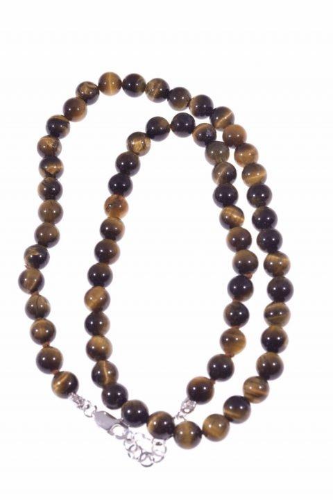 Girocollo di occhio di tigre sfere 6 mm di diametro cm. 40 di lunghezzachiusura in argento 925, girocollo pietre dure uomo, donna