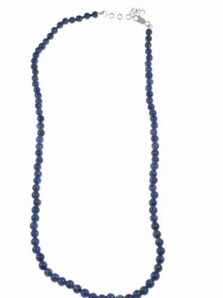 Girocollo di Apatite sfere 4 mm di diametro cm. 40 di lunghezzachiusura in argento 925, girocollo pietre dure per uomo e donna, ottanio