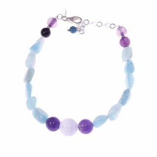 Bracciale pietre dure azzurro e viola, argento amazzonite