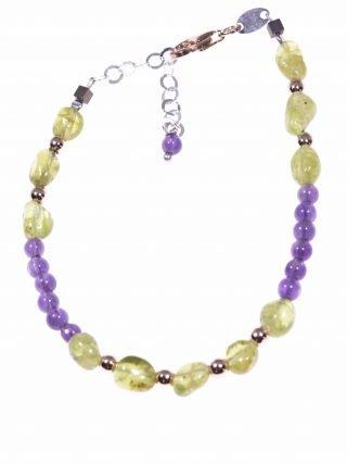 Bracciale pietre dure verdi e viola, argento ametista Linea P.Blu Bracciale peridoto verde, ametista, ematite rosa, moschettone argento rosa.