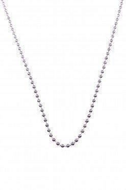 Catenina argento a palline 2 mm., 80cm. Catenina in argento 925 rodiato, maglia a palline sferiche 76 cm.