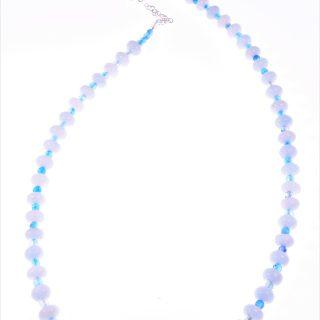Collana acquamarina e agata, azzurra, argento, collana lunga 60 cm. rondelle acquamarina e agata azzurra, chiusura in argento 925