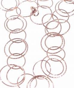 Collana donna multi-cechi argento rosa, 1 metro Linea Argento collezione: Ziggy Collana donna catena a grandi cerchi in argento battuto rosa.