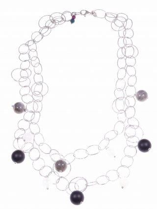Collana ad anelli argento e pietre dure grigio nere, collezione: Ziggy, Collana doppia catena ad anelli in argento battuto con sfere pietre grigio e nere.