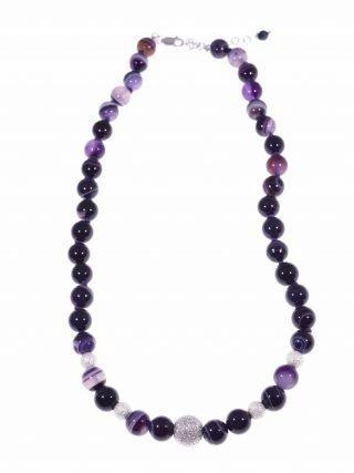 Girocollo donna pietre dure agata viola, argento
