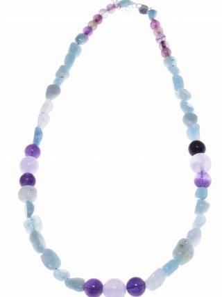 Girocollo donna pietre dure azzurro e viola, argento