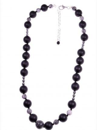 Girocollo donna nero, pietre dure e argento Linea Shadow Collezione: basic-donna, Girocollo nero, grigio, argento, 40 cm.