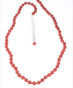Collana corallo rosso Mediterraneo sfere 5 mm.