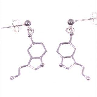 Orecchini molecola serotonina in argento Linea Argento collezione: Molecole orecchini con perno e farfallina, pendente molecola Serotonina in Argento 925