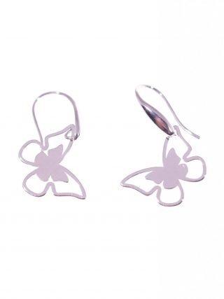 Orecchini pendenti farfalla argentoLinea ArgentoOrecchini pompeiana con piccolo decoro a goccia e farfalla pendente in lastra d'argento.