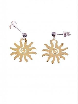 Orecchini in argento con sole giallo Linea Argento collezione: simboli Orecchini con sfera in argento al lobo e sole stilizzato giallo