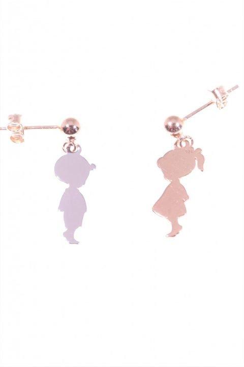 orecchini pendenti bimba bimbo argento Linea Argento Orecchini con piccola sfera al lobo e pendente un bimbo argento e una bimba argento rosa.