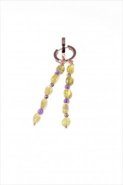 Orecchini pietre dure verdi e viola, argento ametista, peridoto verde, ametista viola, ematite rosa. orecchini pendenti