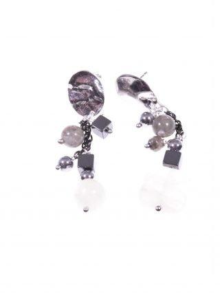 Orecchini pendenti grigio nero, pietra di Luna Collezione: Rang, Orecchini pendenti disuguali in pietre dure labradorite, agata, pietra di Luna, argento