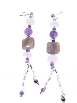 Orecchini pendenti azzurri viola, argento Collezione:Rang, Orecchini pendenti in pietre dure acquamarina, ametista, pietra di Luna, argento